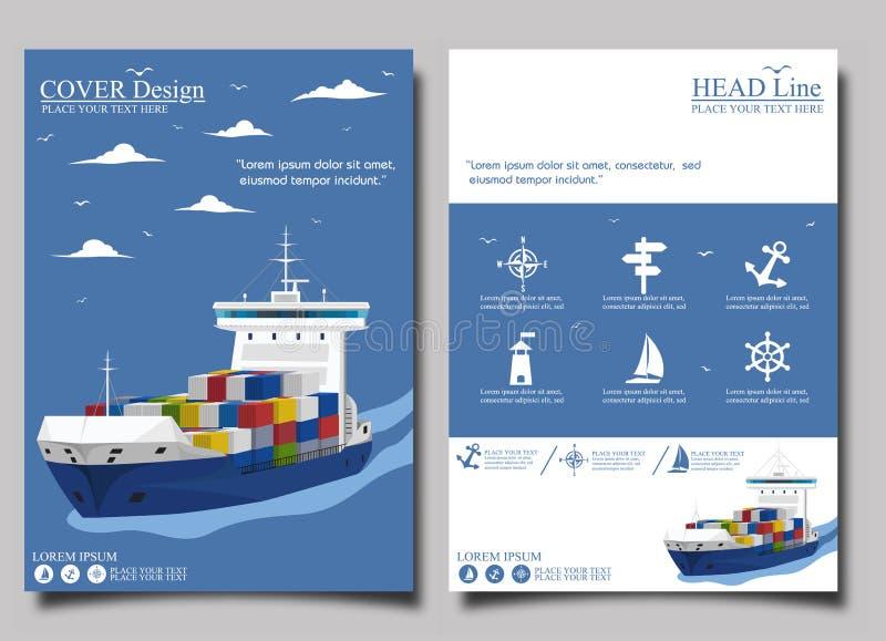 海运输海报模板集合 库存例证
