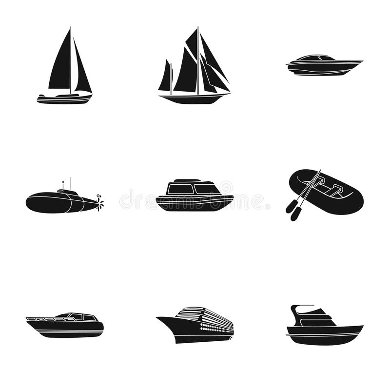海运,小船,船 运输人,雷暴 船和水运输在集合汇集的象  库存例证