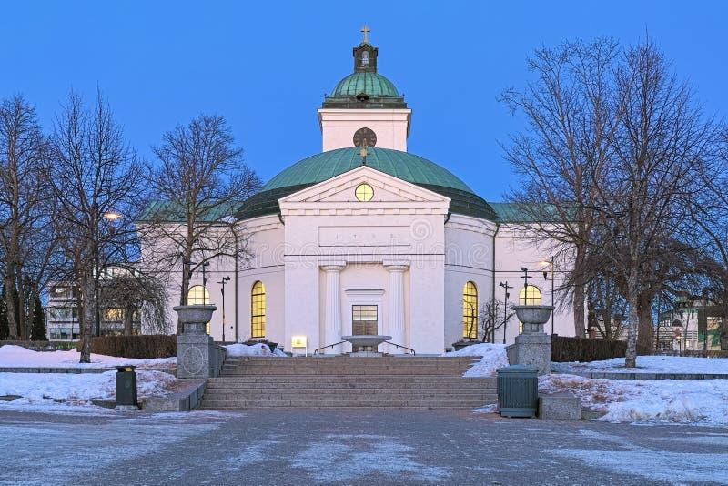 海门林纳主要教会冬天日落的,芬兰 图库摄影