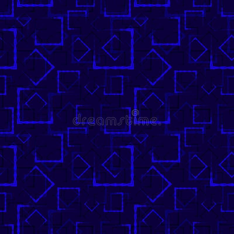 海雕刻了正方形和框架的一个抽象蓝色背景或样式 皇族释放例证