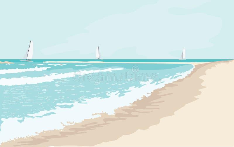 海风景在晴天 库存例证