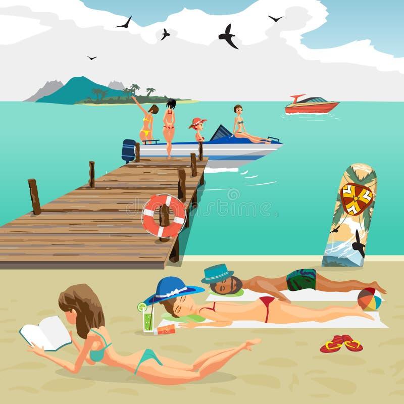 海风景夏天海滩 男人和妇女晒日光浴的说谎 向量例证