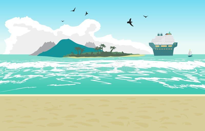 海风景夏天海滩,游轮 皇族释放例证
