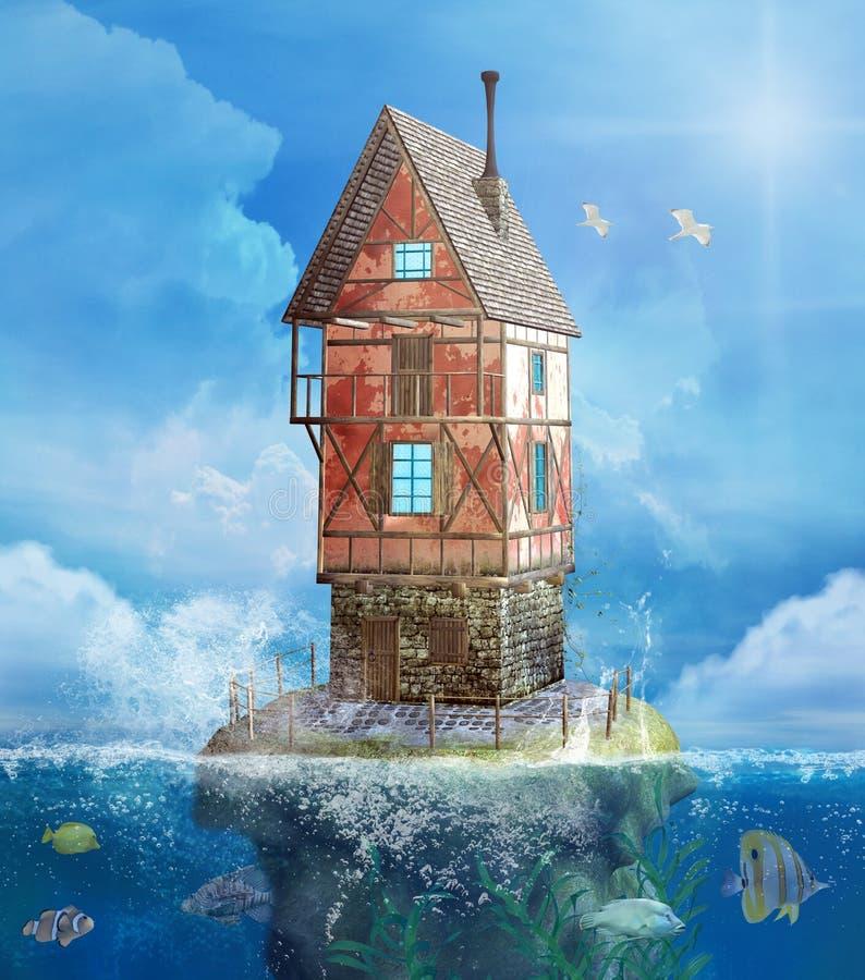海风景的幻想房子与飞行海鸥 库存例证