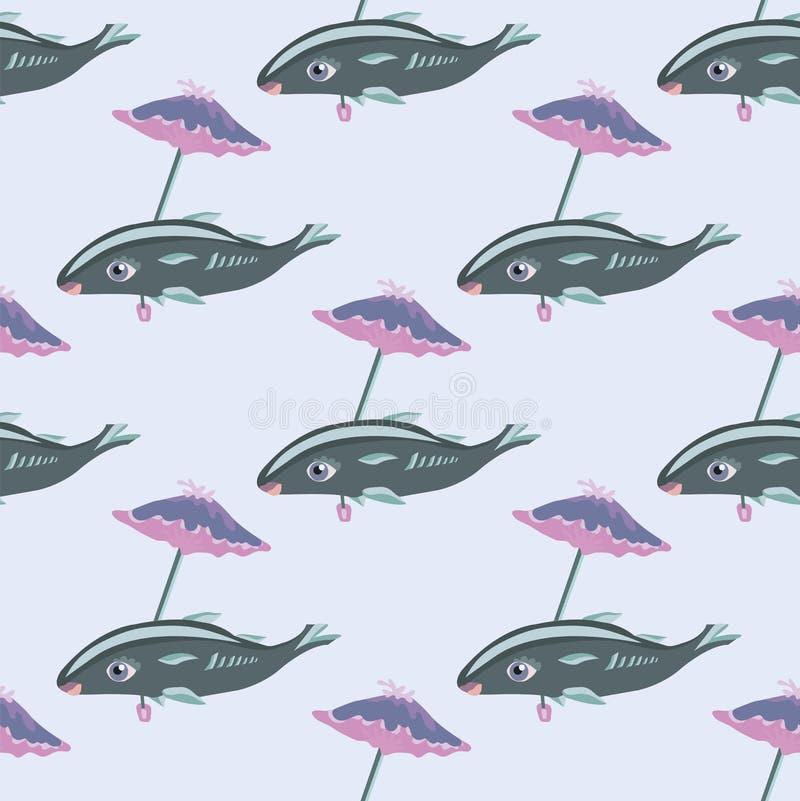 海鱼在伞下 无缝的模式 使用木炭羽毛画笔(膨胀)作为分级显示, - 皇族释放例证