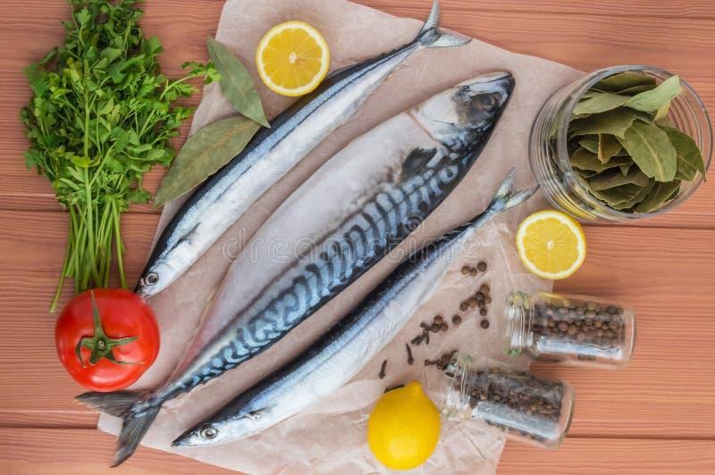 海鱼(鲭鱼,长凳竹刀鱼)和香料 库存图片