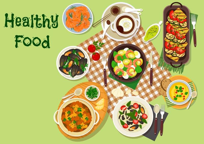 海鲜午餐菜单设计的盘象 库存例证