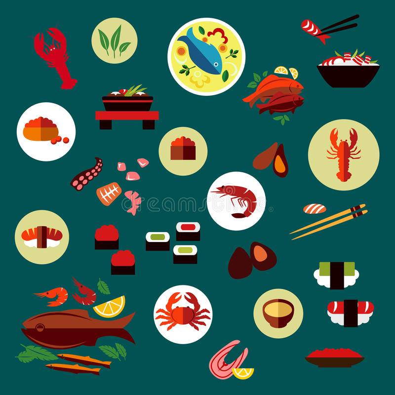 海鲜和熟食平的象 向量例证