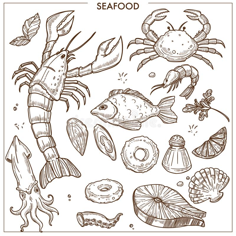 海鲜和鲜鱼剪影象传染媒介为海鲜餐馆市场设置了 向量例证