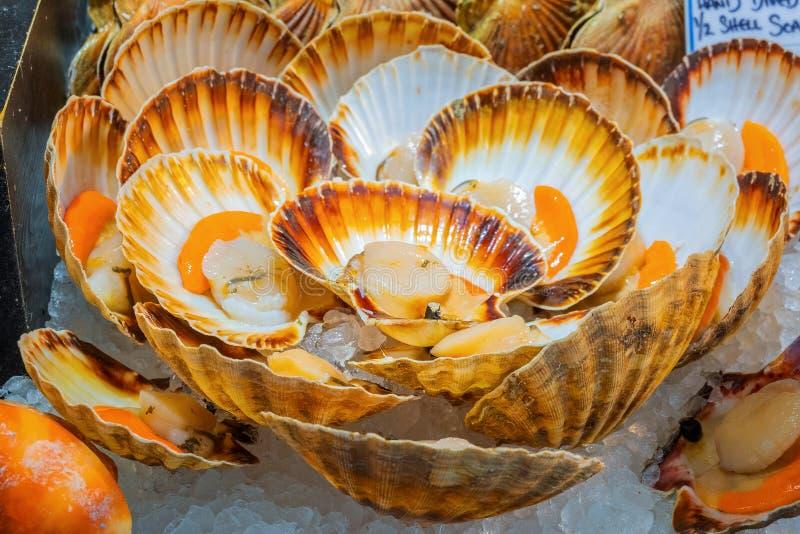 海鲜在自治市镇市场上,伦敦,英国 库存图片