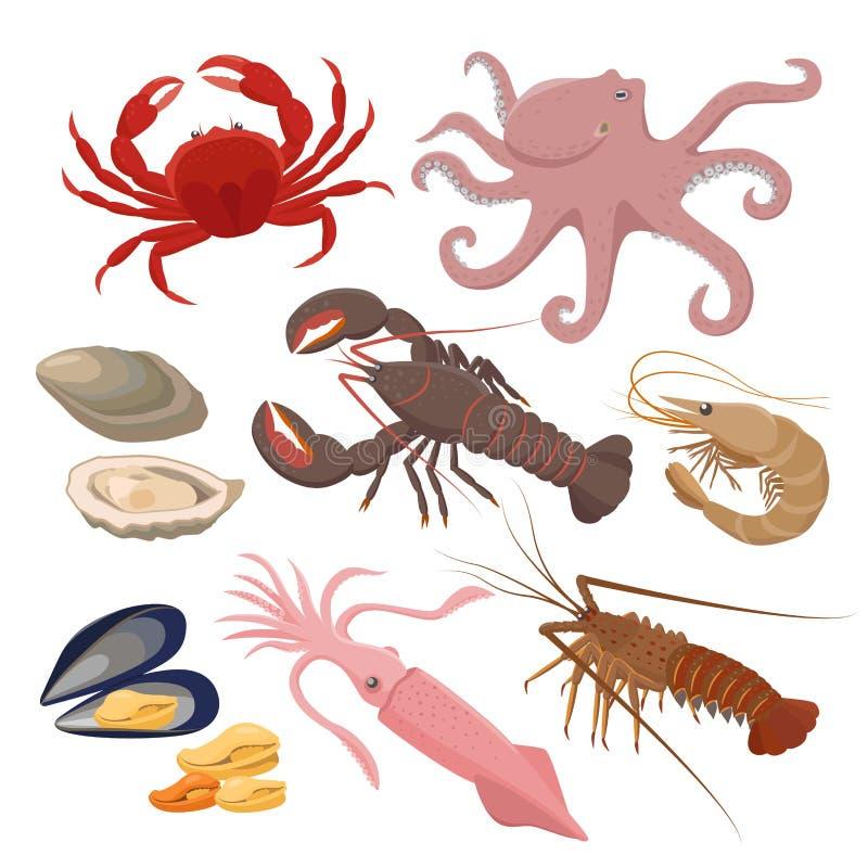海鲜套在白色背景在平的设计的传染媒介例证隔绝的 传染媒介象淡菜,虾,乌贼 库存例证