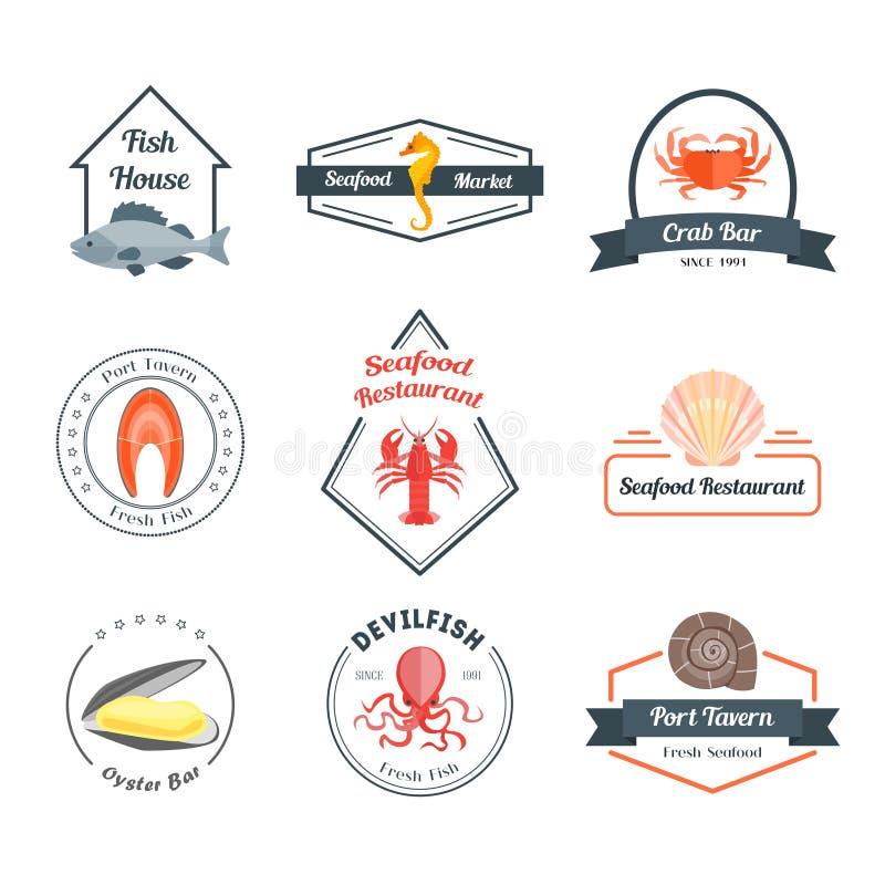海鲜徽章或标号组 向量 向量例证