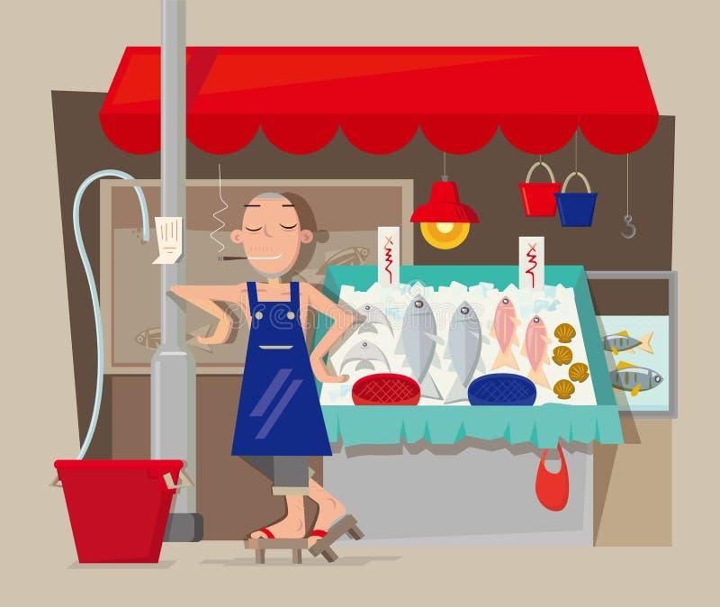 海鲜摊位供营商在香港 向量例证
