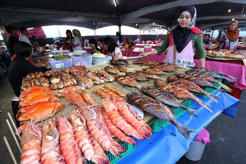 海鲜摊位在亚庇,沙巴 库存照片
