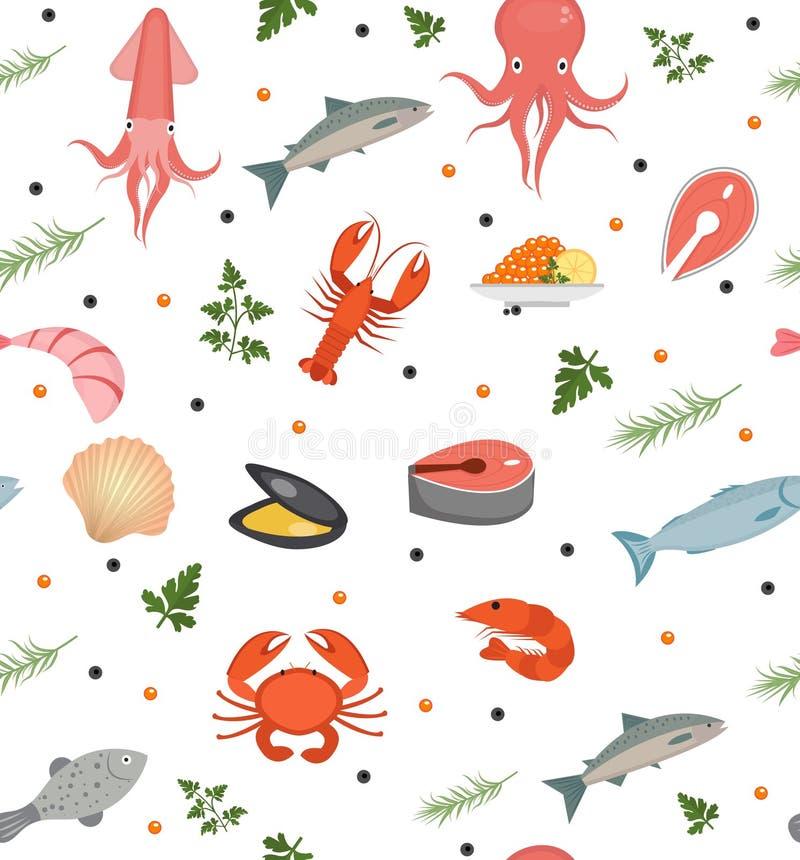 海鲜无缝的样式 饵料不尽的背景,纹理 水下,海洋生活背景 也corel凹道例证向量 向量例证