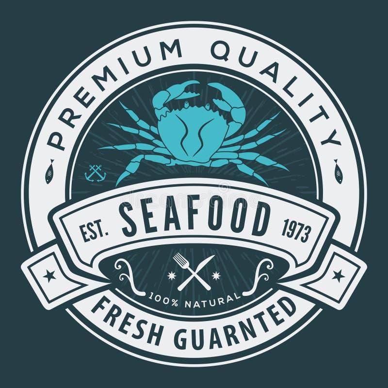 海鲜标签、徽章、象征或者商标 向量例证