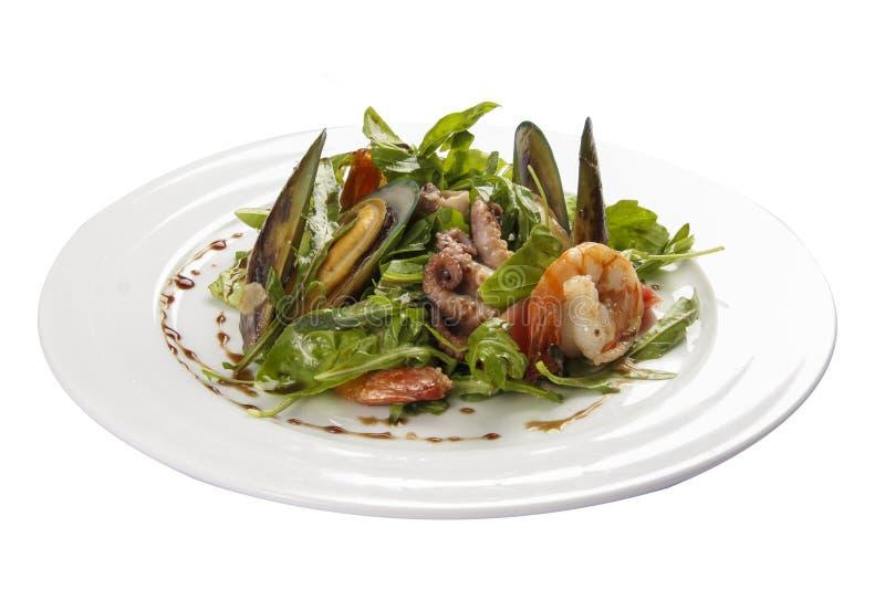 海鲜沙拉 一个传统西班牙盘 库存图片
