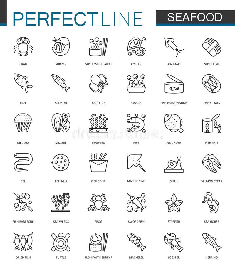 海鲜稀薄的线被设置的网象 餐馆菜单概述冲程象的饵料设计 向量例证