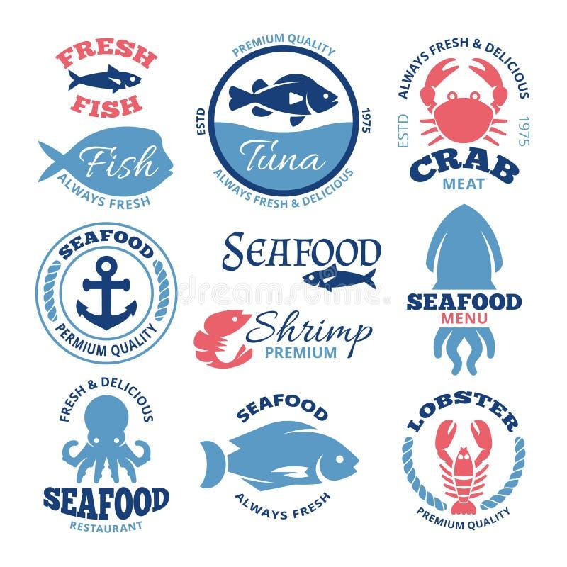 海鲜船舶传染媒介葡萄酒标签和餐馆象征 皇族释放例证