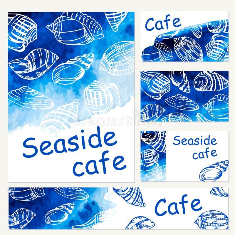 海鲜菜单设计模板 传染媒介海水彩背景 皇族释放例证
