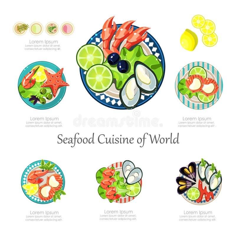 海鲜设计集合 Infographic食物事务 皇族释放例证