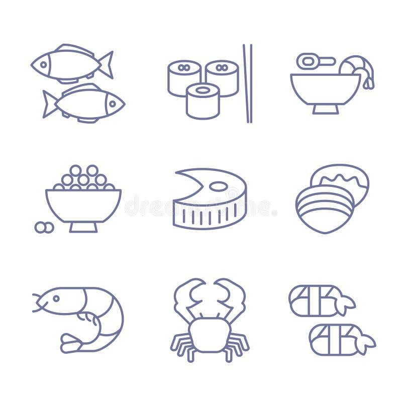 海鲜象,稀薄的线型,平的设计 库存例证