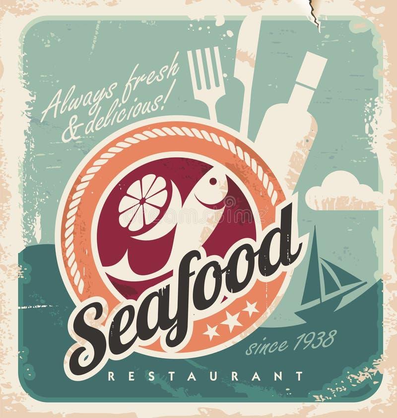 海鲜餐馆的葡萄酒海报 皇族释放例证