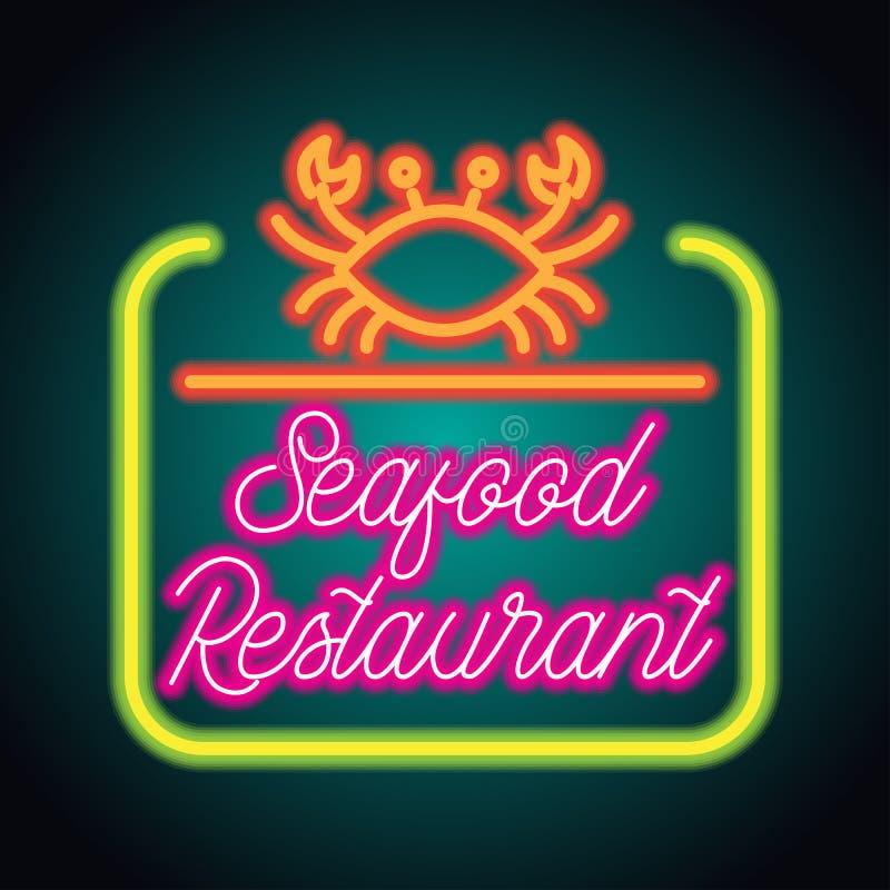 海鲜餐馆霓虹灯广告板条 向量 免版税库存照片
