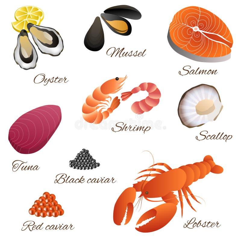 海鲜鱼淡菜虾牡蛎三文鱼龙虾金枪鱼红色黑鱼子酱扇贝集合例证 皇族释放例证