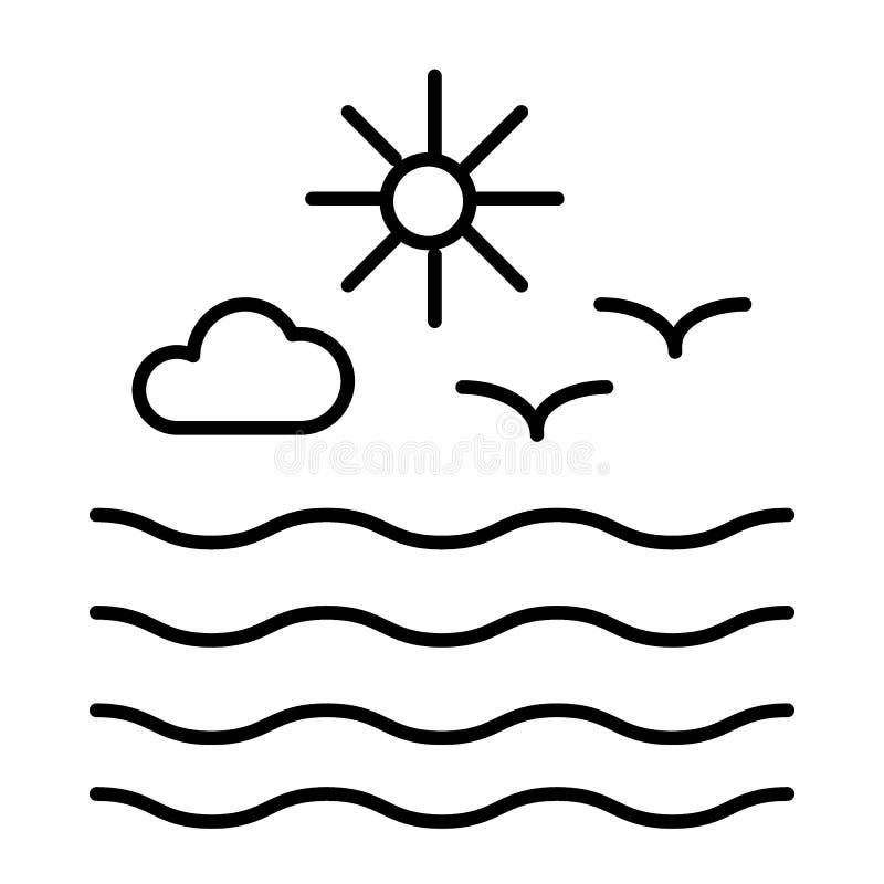 海鸥和太阳与云彩变薄线象 波浪和海鸥导航在白色隔绝的例证 海洋概述 库存例证