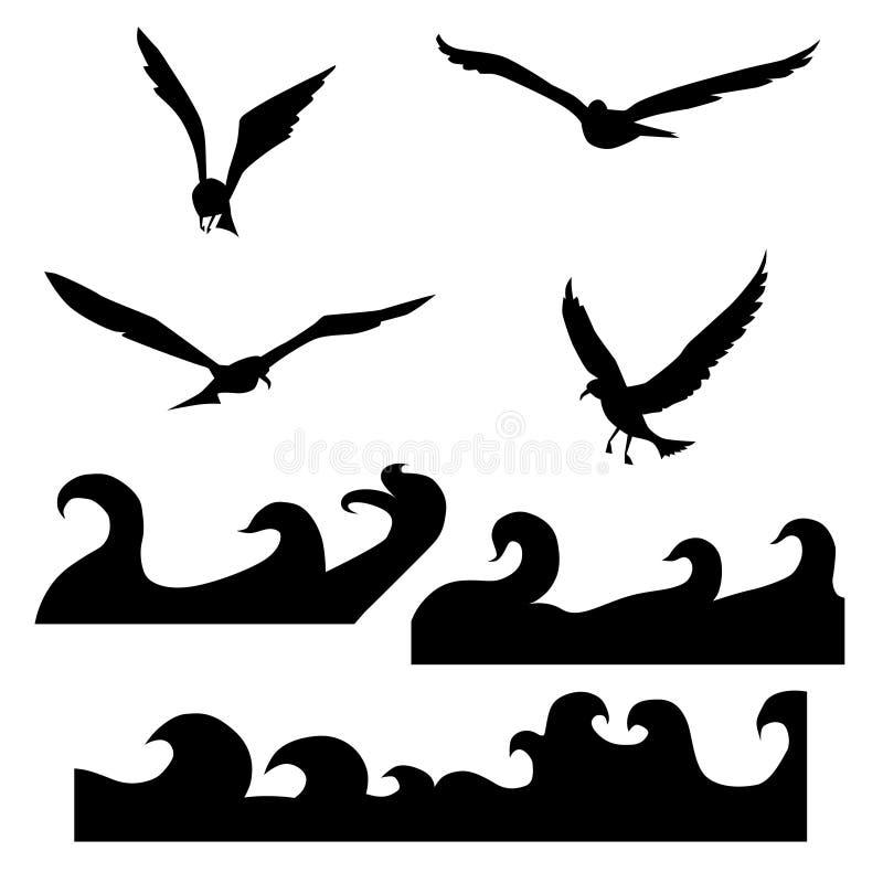 海鸥和波浪剪影  r 向量例证