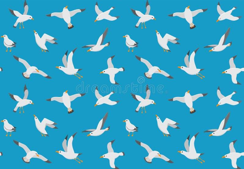 海鸥无缝的样式 飞行在海的动画片鸥 海洋传染媒介不尽的纹理 库存例证