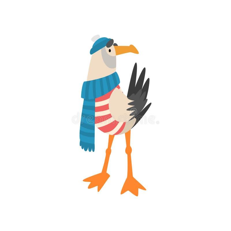 海鸥水手、滑稽的鸟卡通人物在蓝色围巾和被编织的帽子传染媒介例证 向量例证