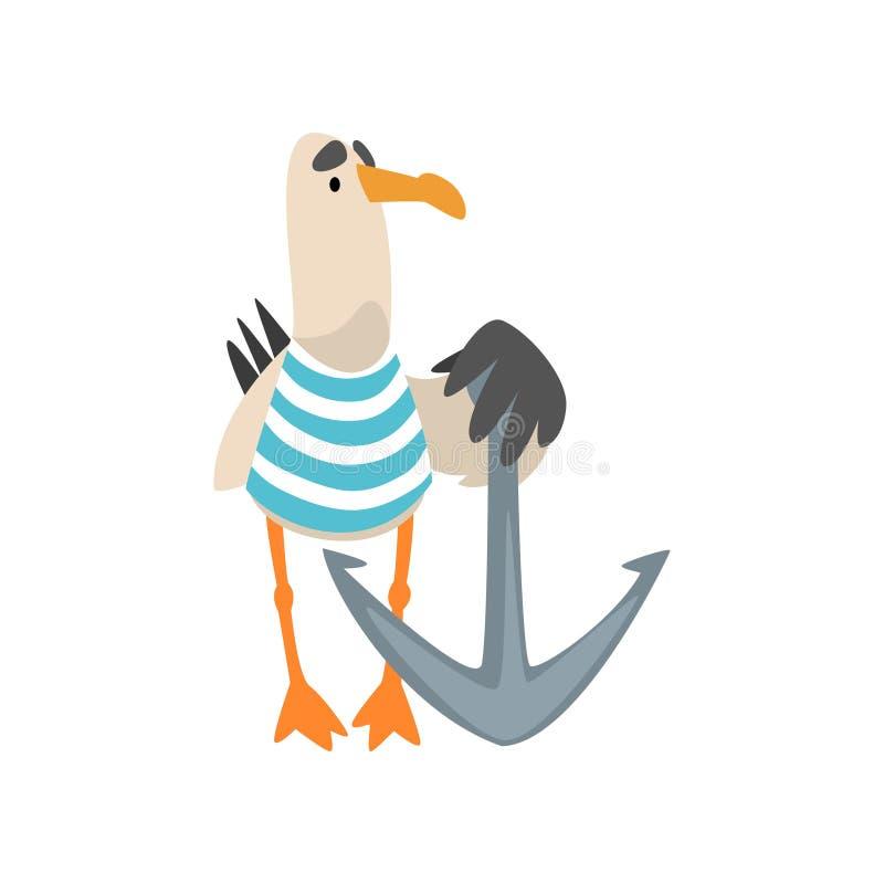 海鸥水手,有船锚传染媒介例证的滑稽的鸟卡通人物 皇族释放例证