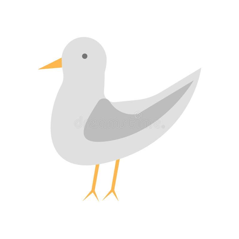 海鸥象在白色背景和标志隔绝的传染媒介标志,海鸥商标概念 向量例证