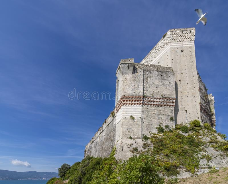 海鸥飞行在俯视海,拉斯佩齐亚,利古里亚,意大利的莱里奇城堡 免版税库存照片