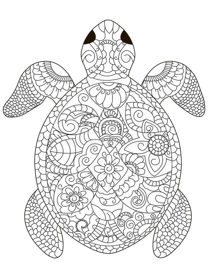 海龟成人的着色传染媒介 库存例证