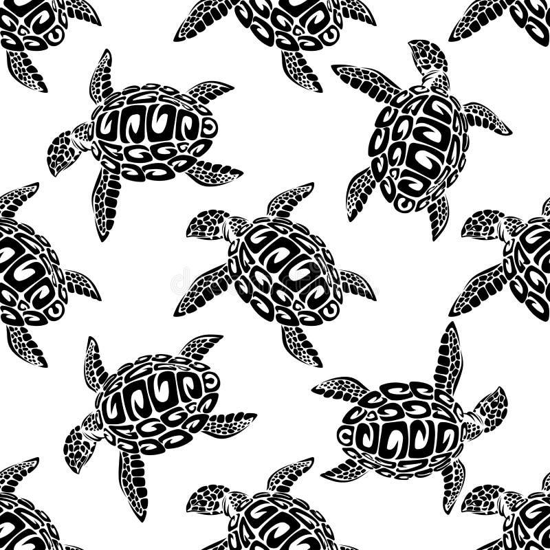 海龟无缝的背景样式 向量例证