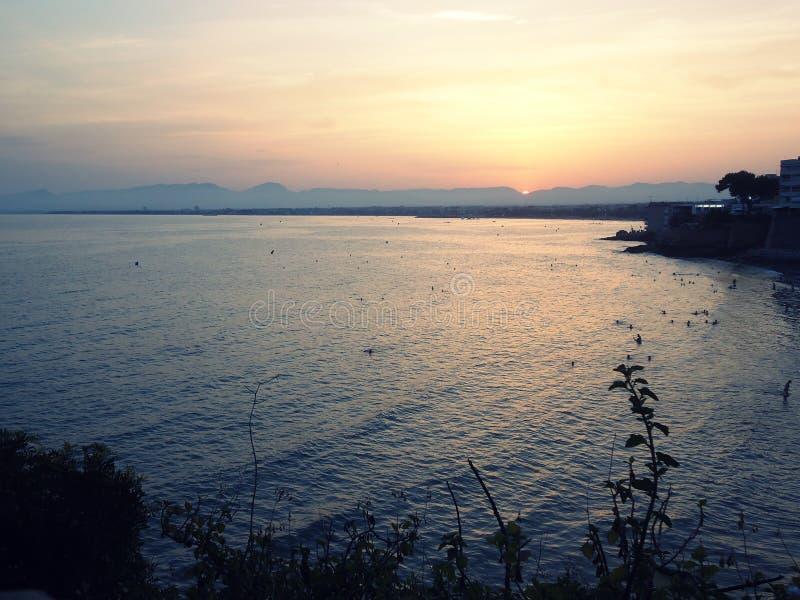 海,日落 库存图片
