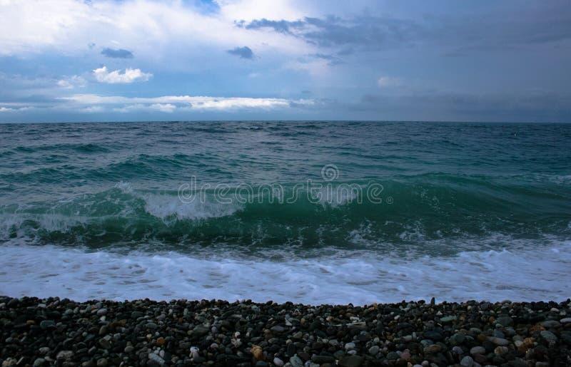黑海,波浪,风雨如磐 图库摄影