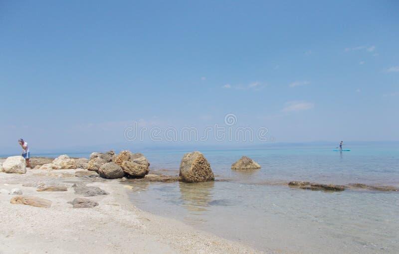 海, Grecce Afitos 免版税库存照片