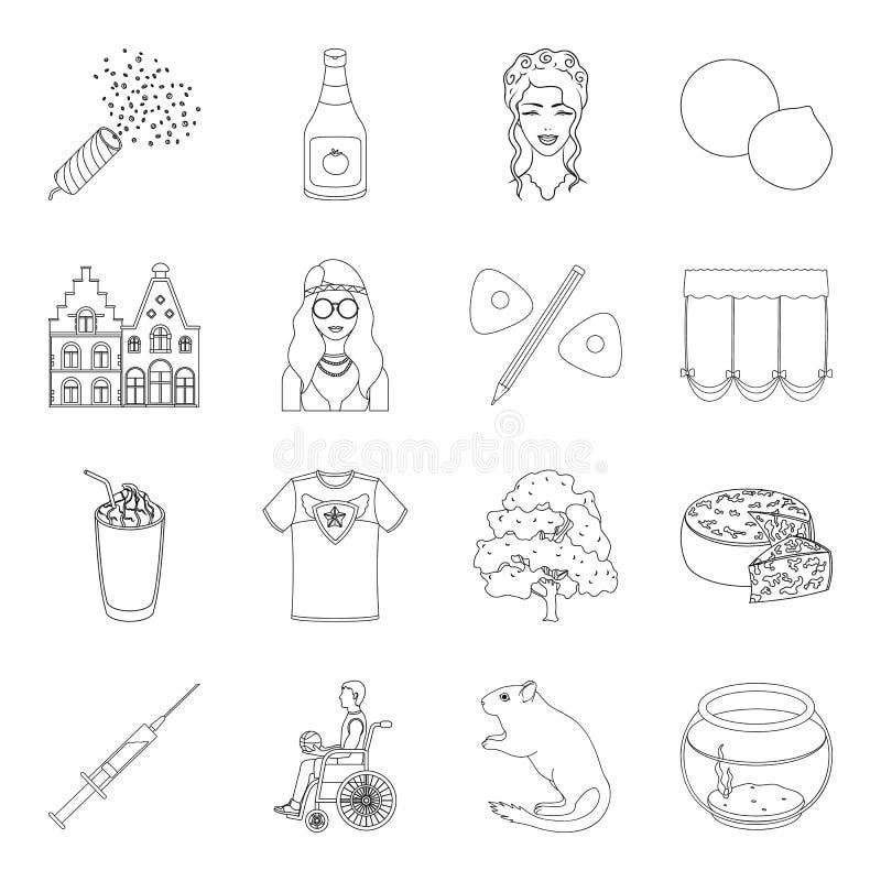 海藻、体育、城市和其他网象在概述样式 烹调,工作室,在集合汇集的医学象 库存例证