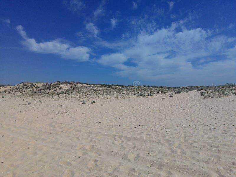 海滩、天空和水 免版税库存图片
