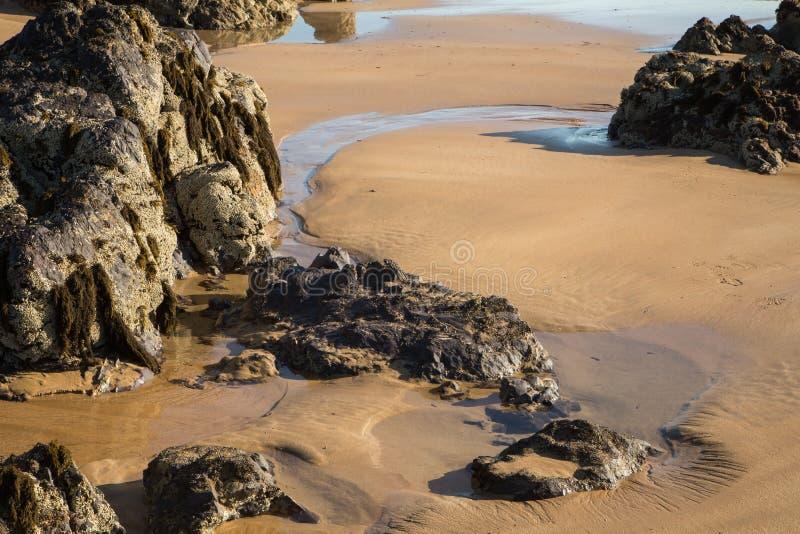 海滩、海和岩石风景照片 免版税图库摄影