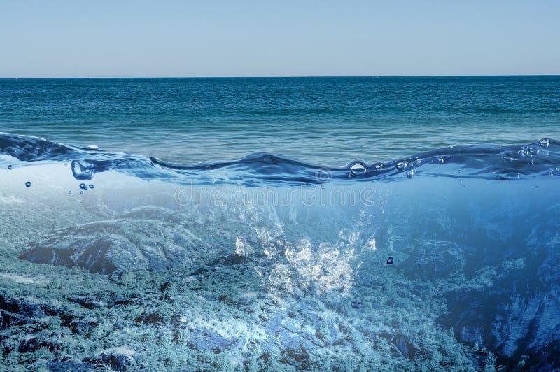 海洋水下的视图 混合画法 库存图片
