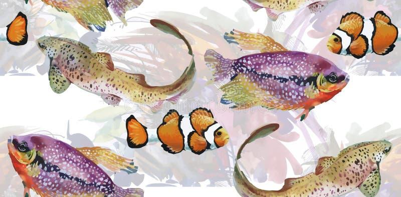 海洋与热带鱼的生物水彩无缝的样式 向量例证