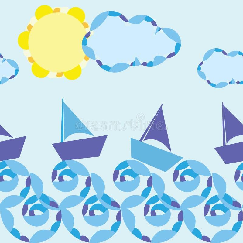 海洋传染媒介无缝的样式 向量例证