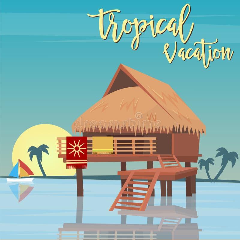 海滩假期热带天堂 异乎寻常的海岛平房 向量例证