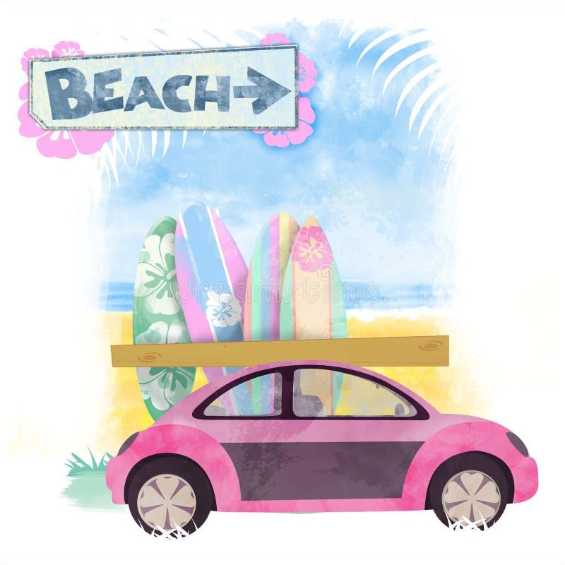 海滩儿童车 免版税库存图片