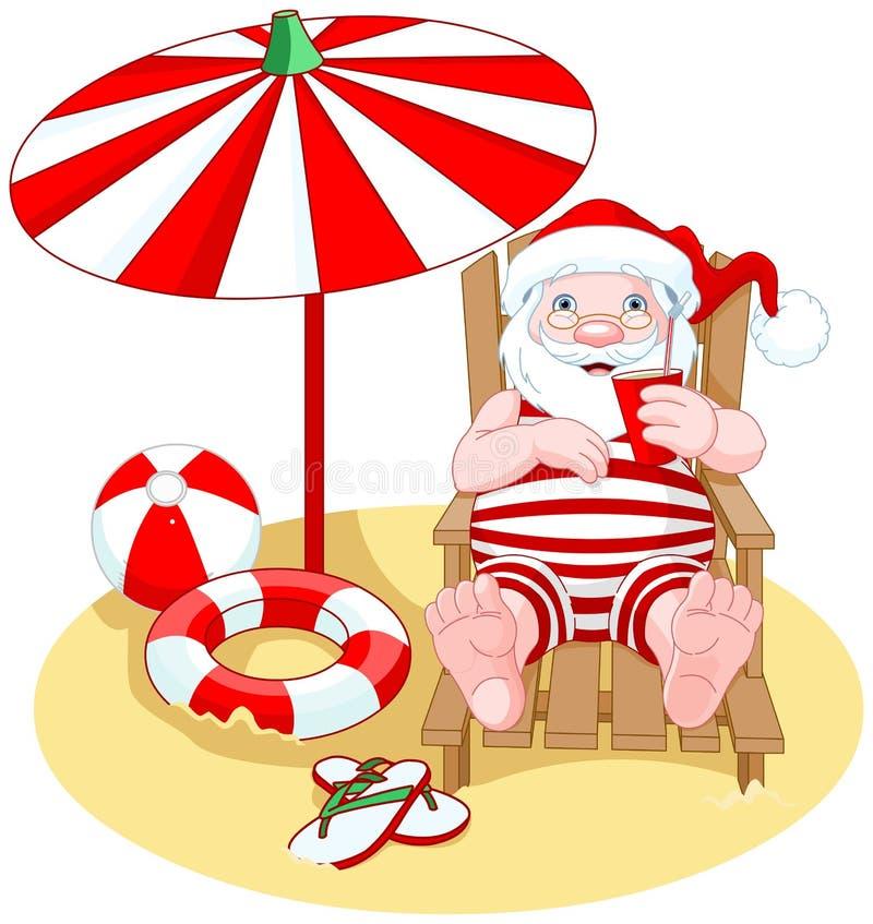 海滩克劳斯・圣诞老人 向量例证